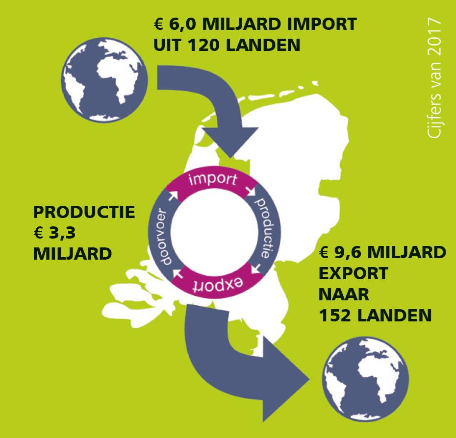 In 152 landen ter wereld liggen groenten en fruit van Nederlandse bodem in het winkelschap: dat is dus in drie op de vier landen